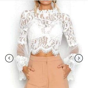 LOVESONG white lace crop top